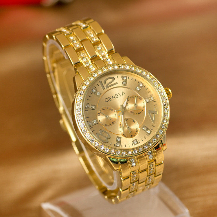 Geneva Watch Full Steel Watches Women dress Rhinestone Analog wristwatches Ladies Quartz watches