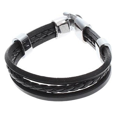 Single Color Cross Weave Leather Galloon Bracelet