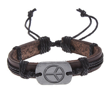 Unisex Peace Sign Fabric Leather Bracelet(Random Color)