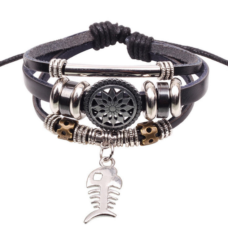 Handmade Fish Charm Genuine Leather Adjustable Bracelet Wristband Jewelry Unisex Men Woman