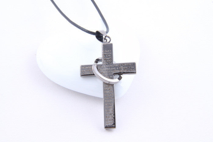 Fashion Cross necklace for men's Scriptures cross necklace statement jewelry
