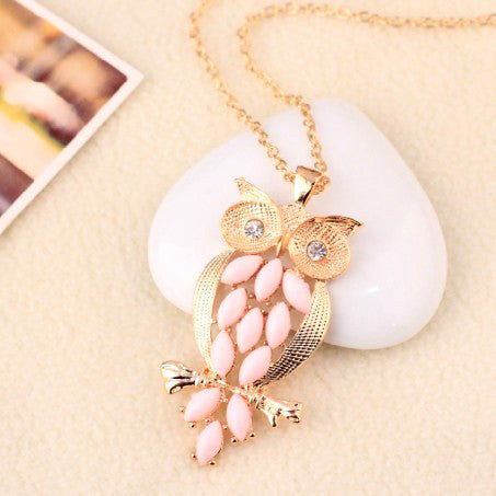 Vintage Pink Gem owl chain long necklace jewelry for women Ancient Retro Owl Sweater Chain for women