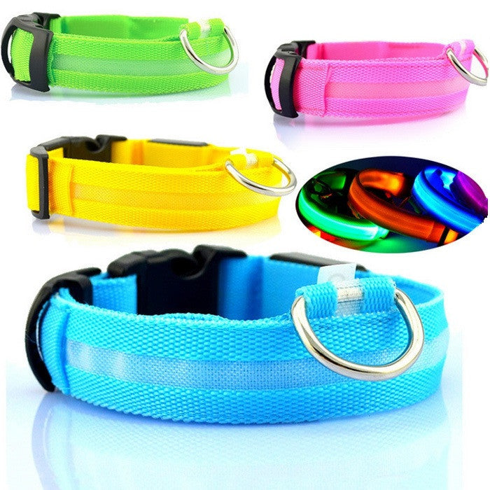 Adjustable Pet Dog Flashing LED Lights Safety Nylon Night Glow Collar