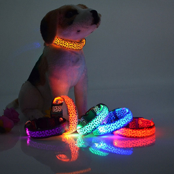 Pet Dog Leopard Nylon Safety LED Collar Colorful Flash Light Neck