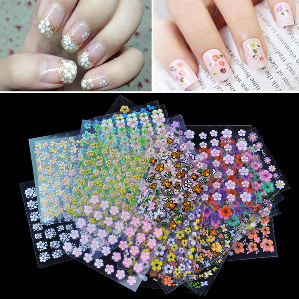 30 Sheet 3D Mix Color Floral Design Nail Art Stickers Decals Manicure Beautiful Fashion Accessories Decoration
