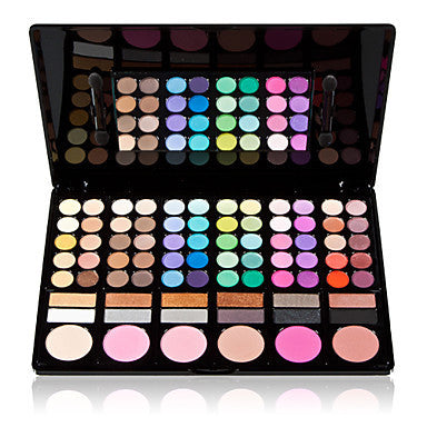 78 Colors 3in1 Professional 60+12 Smoky Eyeshadow 6 Blusher Makeup Cosmetic Palette with Mirror&2 Sponge Applicator