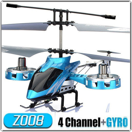 New Toy Blue AVATAR Z008 4CH Mini Metal 4 Channel RC Remote Control Helicopter with LED Light