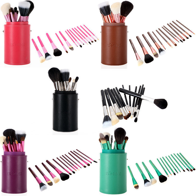 13 pcs Professional Portable makeup brushes make up brushes Set Cosmetic Brushes Kit Makeup Tools with Cup holder Case-Hot Sale-TOP Quality!-[Free Shipping]