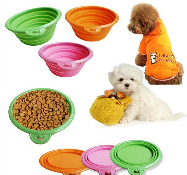 Silicon Foldable Traveling Bowl for Pets Dogs (Assorted Colors)