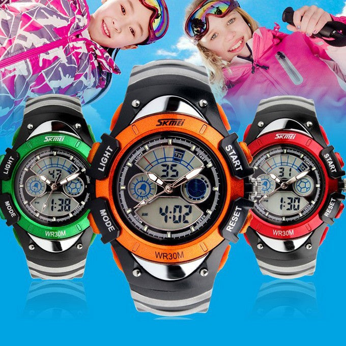 Fashion Children Watches Dual Time LED Digital Quartz Multifunctional 30m Waterproof Swim Student Sports Watch