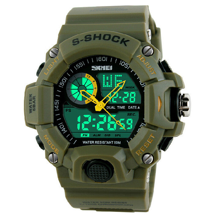Men Sports Watches 2 Time Zone Digital Quartz Watch Dive 50M Waterproof LED Electronic Multifunctional Military Wristwatch