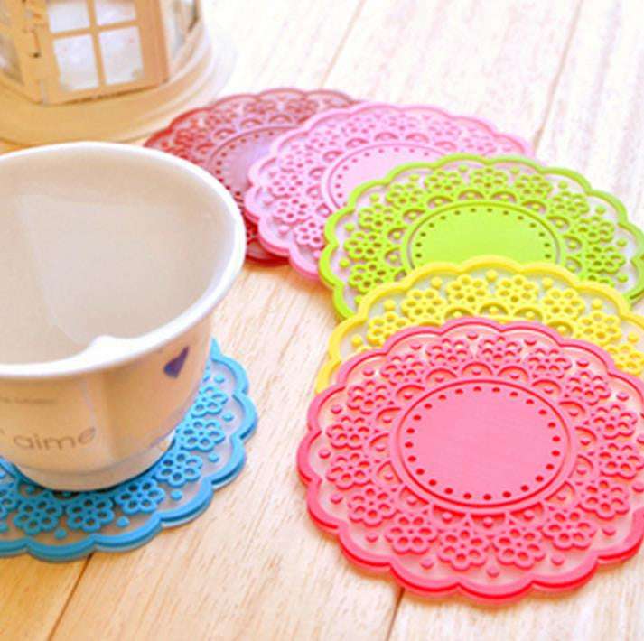 High quality Translucent openwork lace coasters Nice Insulation coasters cute Cup mat 10pcs/lot