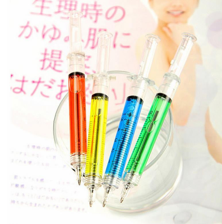 5Pcs/set Novelty Liquid Syringe Ballpoint Pen Medical Hospital Stationery Blue Ink