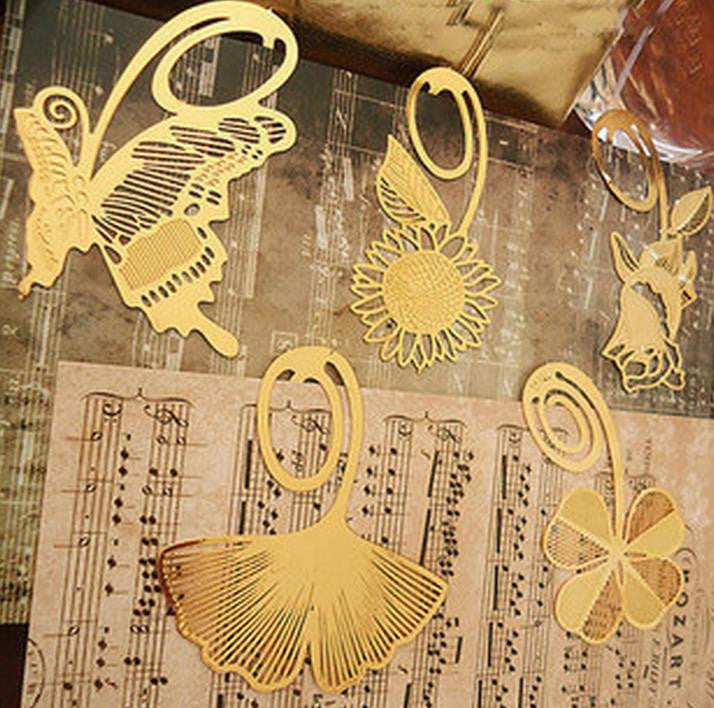 Fashion plant cutout blade metal bookmark vintage gift box packing 4pcs/set