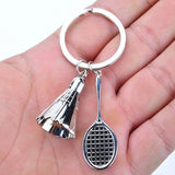 Badminton key chain shuttlecock & badminton racket keychain key ring