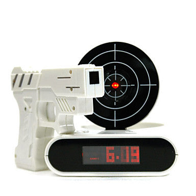 Laser Target Desk Shooting Gun Digital Alarm Clock Cool Gadget Toy Novelty With Red LED backlight