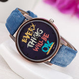 "Men's army watch ""EVERY THING WILL BE OK"" retro leather sports wristwatch"