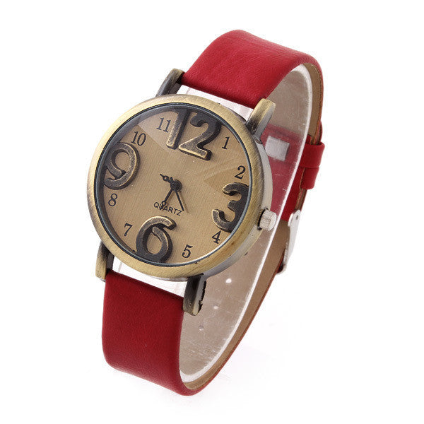 Vintage Quartz Watch New Bronze Imitation Leather Strap Casual Watches Top Quality Ladies Analog Wristwatch