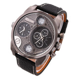 OULM Multiple Time Zone Sports Watch Analog Men Leather Strap Casual Watches Fitness wristwatch Quartz Military watch