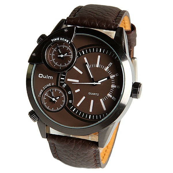 Oulm brand Male Man Quartz Wrist Watch sports Three Movt Time zone Round Dial Genuine Leather Straps
