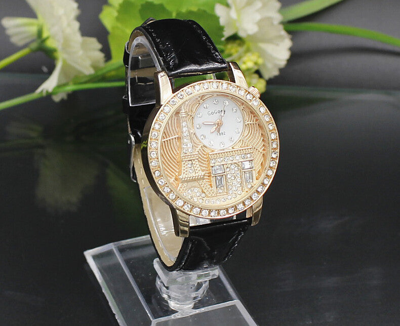 Women watches Quartz Wristwatch Gogoey Brand Luxury Eiffel Tower Leather Watch Lady Casual fashion gold Watch