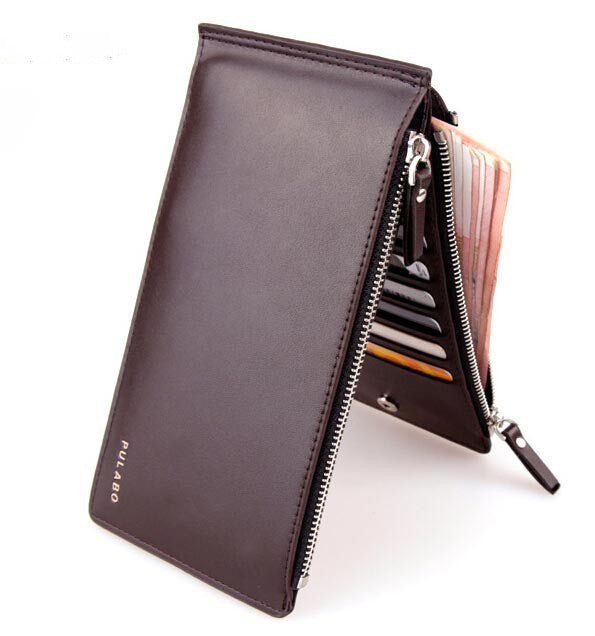 Hot sell luxury ultra-large capacity double zippers men wallets,ultra-thin leather wallets for men,fashion mens money clip