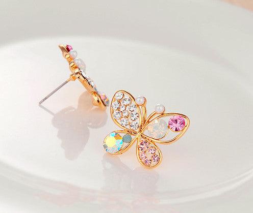18KG Plated New Korean Luxury Hollow Shiny Colorful Cystal Simulated Pearl 18KGP Butterly Stud Earrings