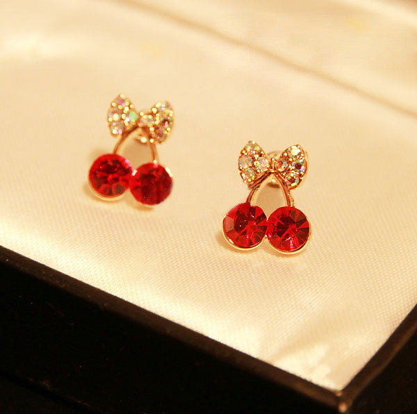 Korean Exquisite Sweet Girls Fashion Brincos 18KG Plated Cystal Cherry Bowknot 18KGP Accessories Stud Earrings