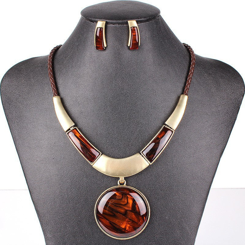 Fashion Brand Jewelry Sets Silver/Gold Plated Round Pendant 5Colors Faux Leather Rope High Quality