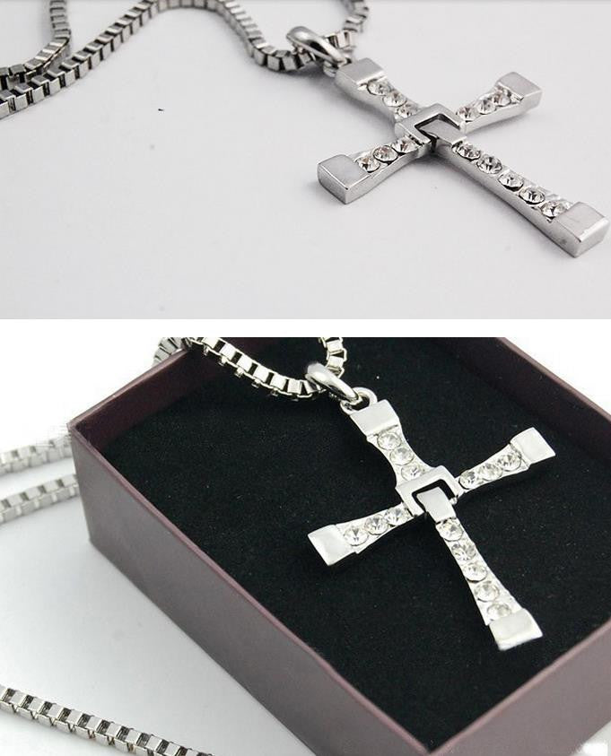 Male Necklaces & Pendants Fashion Movie jewelry The Fast and The Furious Toretto Men Classic Colar CROSS Pendant Necklace