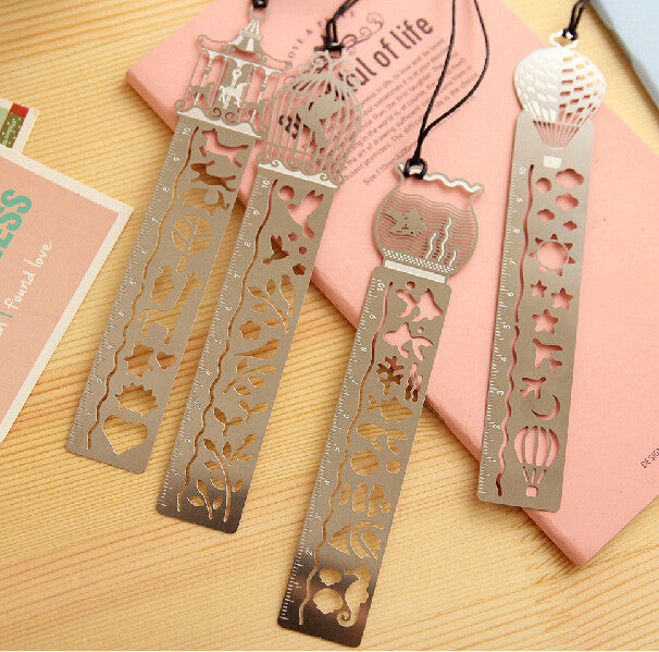 Ruler Bookmarks Birds Fish Hot Air Balloon Carousels Multifunction Metal Rulers With Lanyard Creative Stationery-4pcs/set