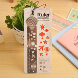 Ruler Bookmarks Birds Fish Hot Air Balloon Carousels Multifunction Metal Rulers With Lanyard Creative Stationery