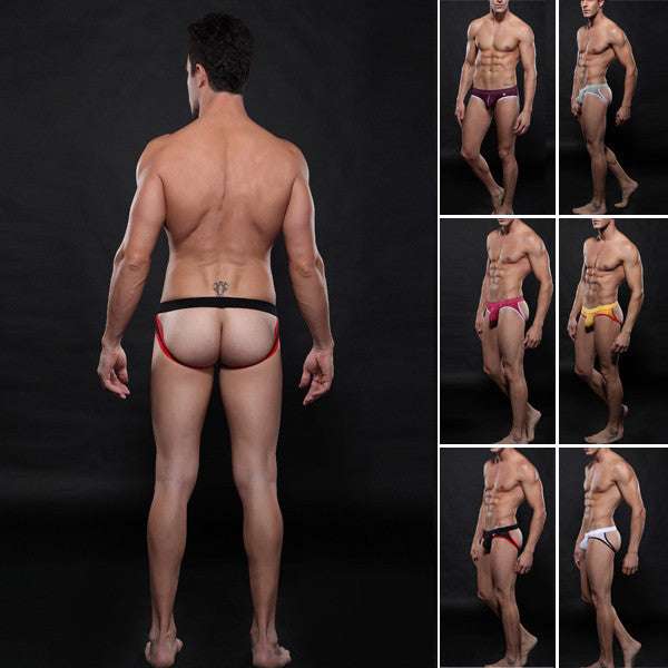 Sexy Men's Mesh Thong Jockstrap G-string Back Hole Briefs Underwear