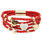 Hot Sell Leather Wrap 18k Rose Gold Plated Bracelet for Women Four Leaf Clover Crystal Charm Jewelry