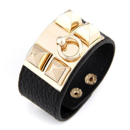 Vintage Punk Metal Rivet Studs Pyramid Faux Leather Loop Charm Bangles Bracelet Wide Cuffs For Women