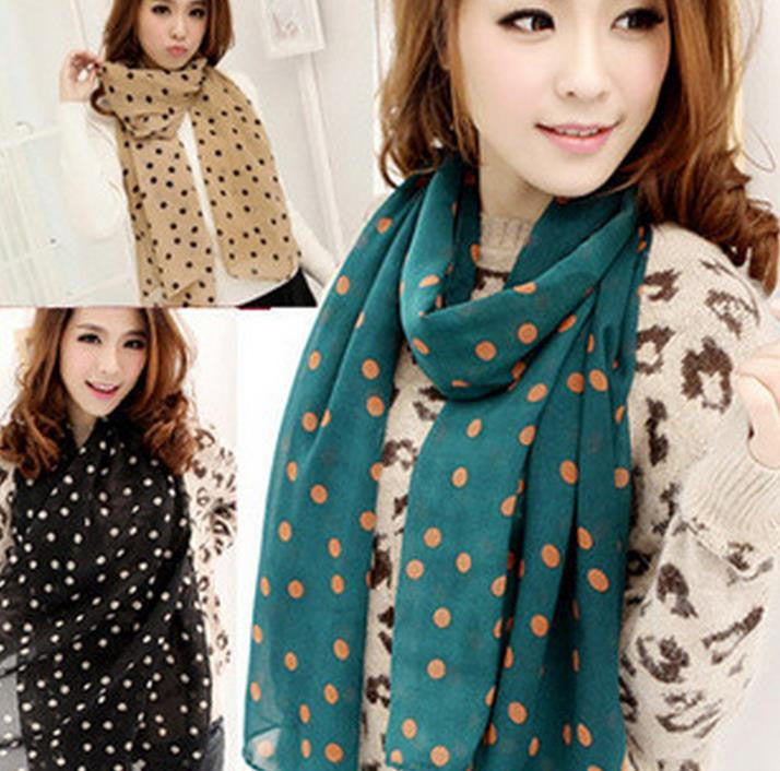 New Stylish Girl Long Soft Silk Chiffon Scarf Wrap Polka Dot Shawl Scarve For Women
