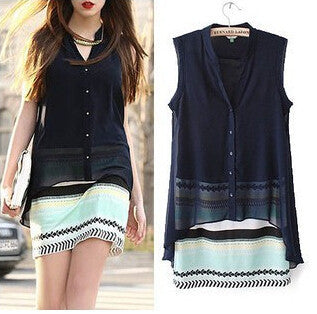 Women summer dress new hot chiffon fake two piece chromatic stripe casual dress fashion cozy vestidos autumn dress