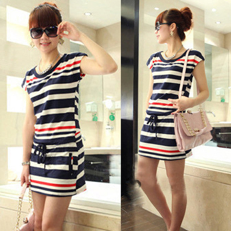 New Bestsellers Fashion Women Striped Slim Elastic Casual Dress Crew Neck Comfy Short Sleeve Dress With Pockets