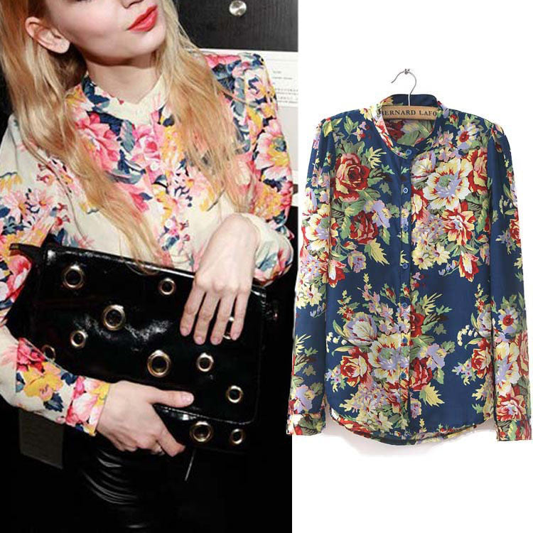 Hot Sale Fashion Vintage Floral Print Pattern Chiffon Blouse Women Long Sleeve Shirt Tops