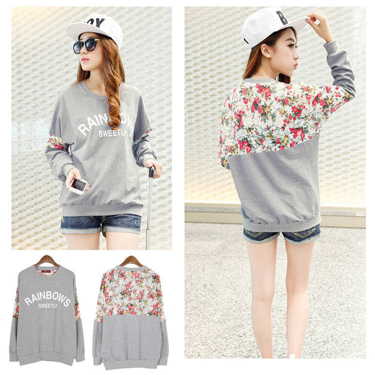 New Fashion Autumn Women's Cotton Loose Patchwork Hoodies Letter Sweatshirt Lace Stitching 3D Flowers