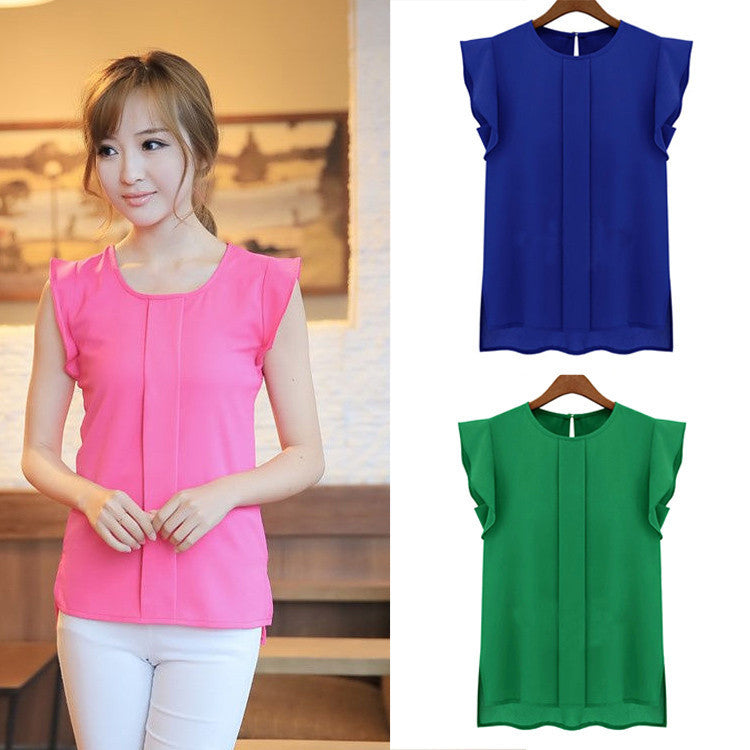 New Women Blouses Sleeveless Fashion Chiffon Blouses Lady Crew Neck Flounced Sleeve After The Open Collar Shirts