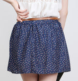 Fashion 4 Colors Pleated Floral Chiffon Women Ladies Cute Mini Skirt Belt Include Flower Printed Pattern Pleated Short