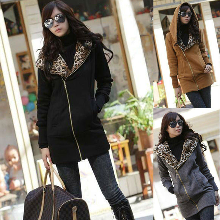 New Women's Long Sleeve Leopard Jacket Coat Warm Sweater Outerwear Casual Zipper Hoodie Sweatshirt