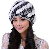 New Style Genuine Knitted Rex Rabbit Fur Hat Natural Rabbit Stripe Fur Caps Fashion Women Beanie Headgear Various Colors
