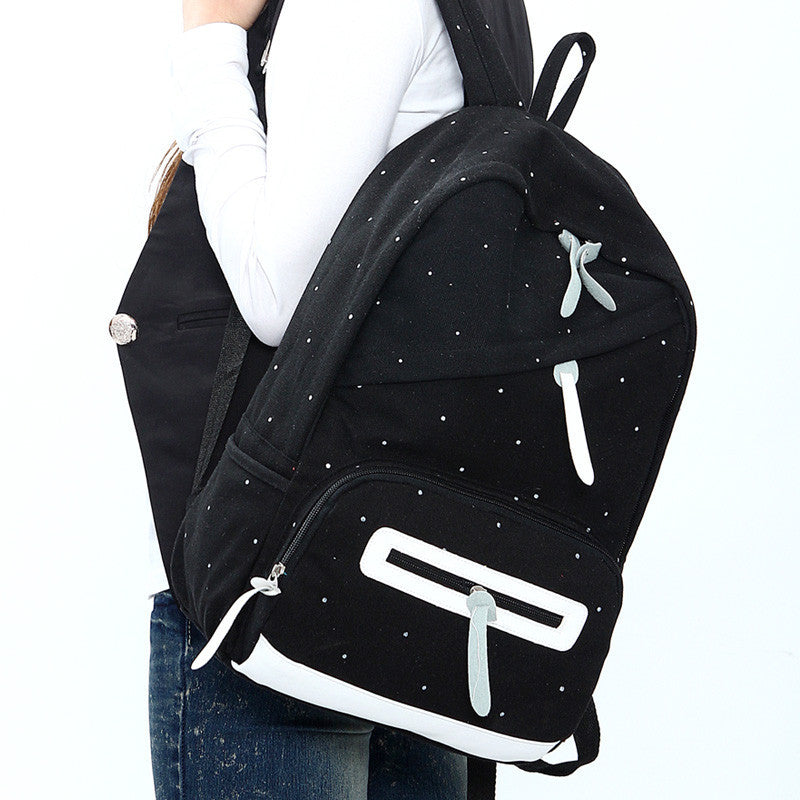 Solid color brief women backpack fashionable casual canvas bag student school bag Men's Backpacks