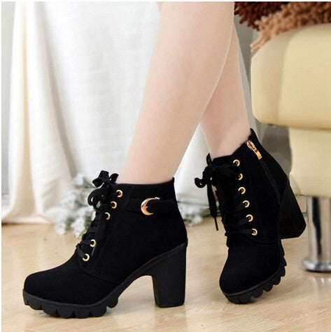 Autumn and winter velvet short boot thick heels wild black matte female shoes Miss Han Ban ol Martin boots