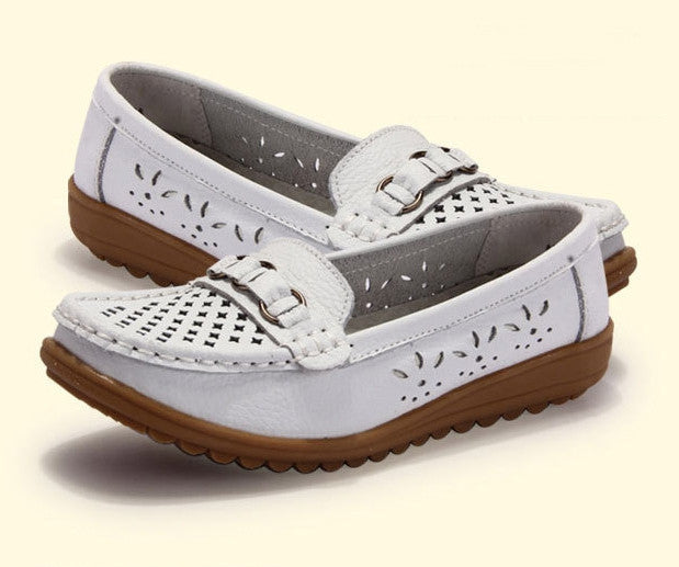 Women genuine leather shoes women flats breathable outdoor shoes round toe flexible driving ballet loafer