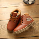 New Winter Kids Warm Thickening PU Leather Boots Boys Boys Girls Sneakers Children Shoes