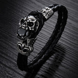 NEW Fashion jewelry Skull Stainless Steel Black Japan Kito Genuine leather Personality Men Bracelet male Bangles