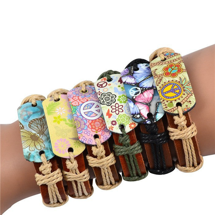 Genuine Leather Bracelet Mixed Peace Butterfly Charms Tribe Bracelets Jewelry Fashion Bracelet-6pcs/set